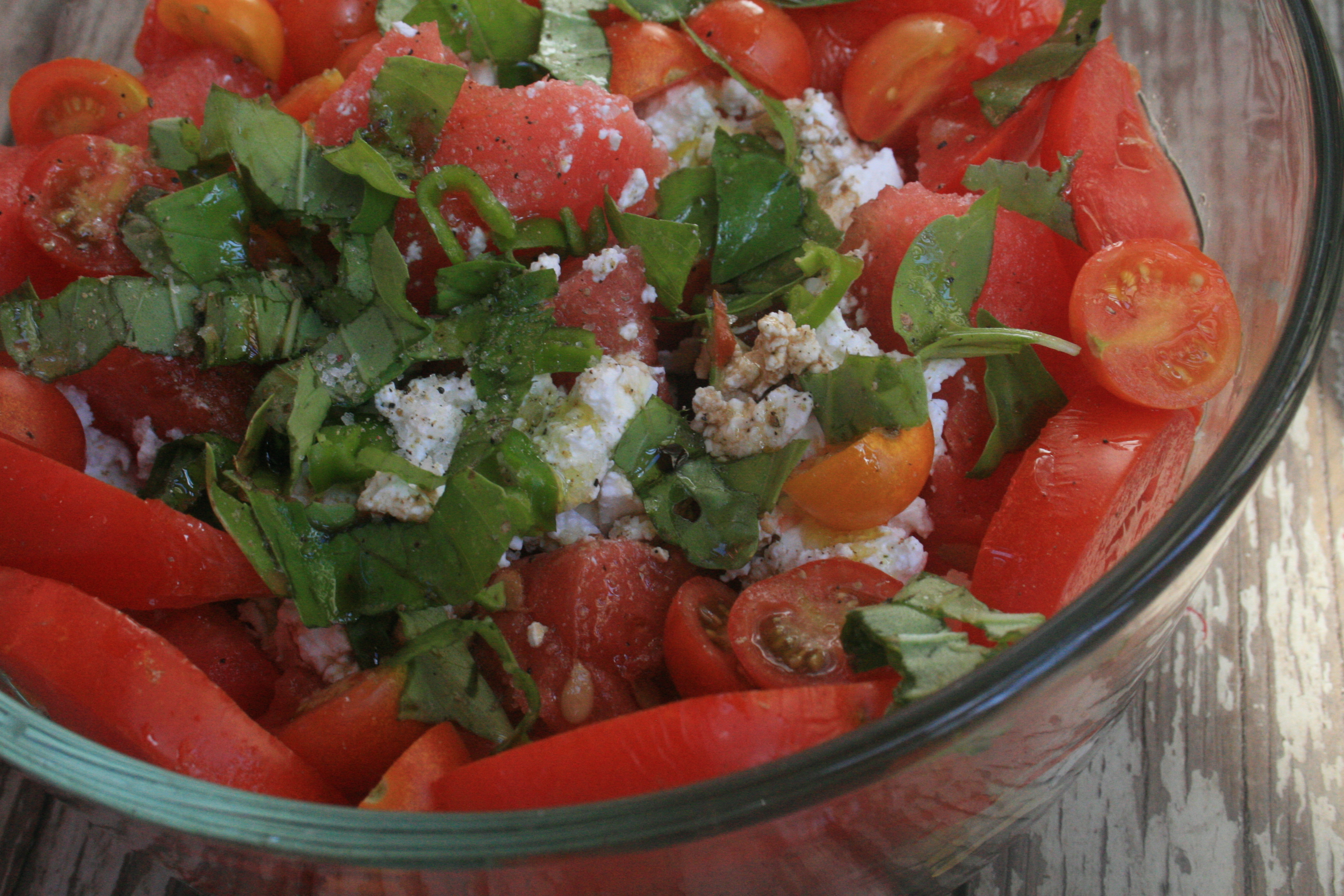 Tomato-Watermelon Salad With Feta And Toasted Almonds ...